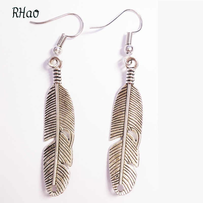 RHao Wanita 2017 New Peacock Feather earrings wanita wedding party dresses berongga vintage perak bulu penurunan anting perhiasan