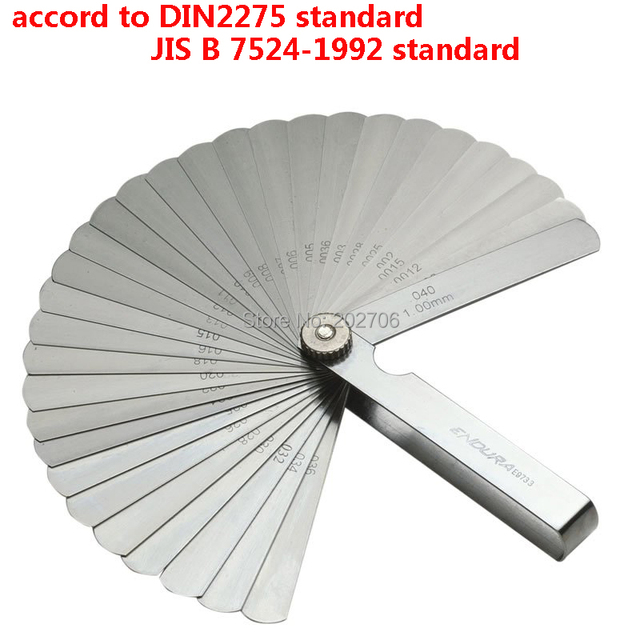 Stainless Steel Din Standard 32 Blades Feeler Gauge Metric 002 100