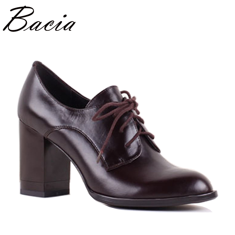 Bacia New Autumn Women High Heels Shoes Pumps Genuine Leather Office Cow Leather Female Ladies Thick Heels Shoes Size36-40 SB039 bacia women shoes black patent leather ladies high heels shoes with bowknot thick heel pumps genuine leather lady shoes sb075