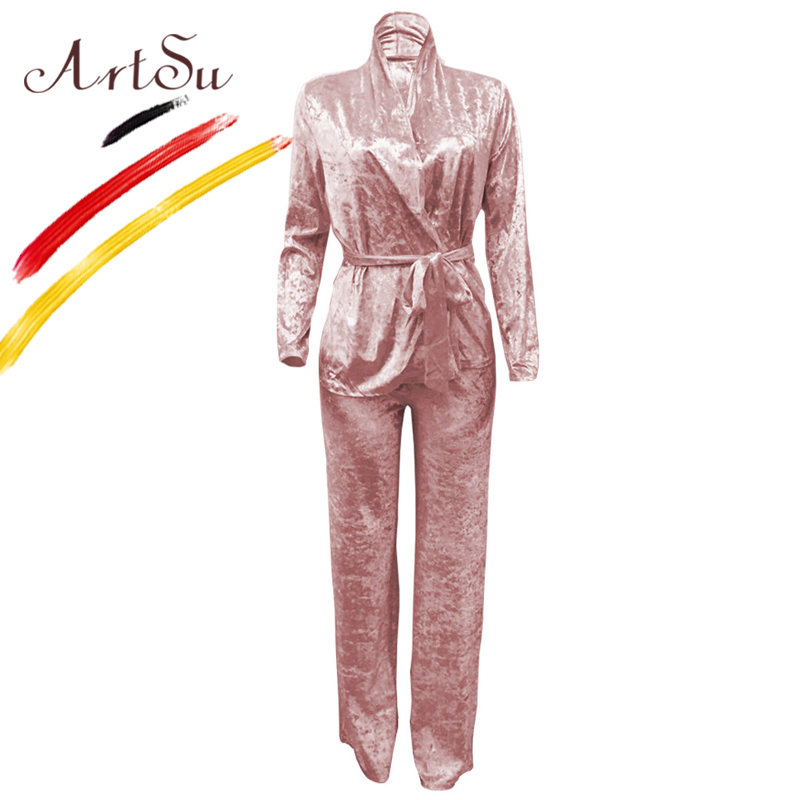 ArtSu Plus Size Winter Velvet 2 Piece   Pajamas     Sets   For Women Sexy V-Neck Belted Sleepwear Europe Ladies Warm Leisure Home Wear