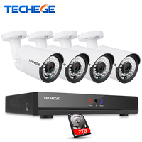 Techege 4CH 15V 48V 1080P PoE NVR 2 0MP IP Camera POE System Cloud 1080 NVR