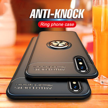 Luxury Silicone Cases For iPhone XR X XS Max 8 7 Plus 6 6S Phone Case Magnet Metal Ring Holder Stand Soft TPU Shockproof Cover цена и фото