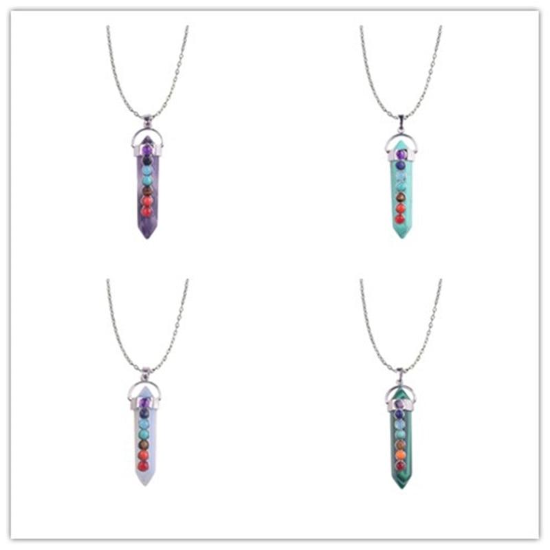 Quartz Chakra pierres Point de guérison cristal pendentif collier arc-en-ciel Reiki perles femmes pierre naturelle breloques bijoux métaphysiques