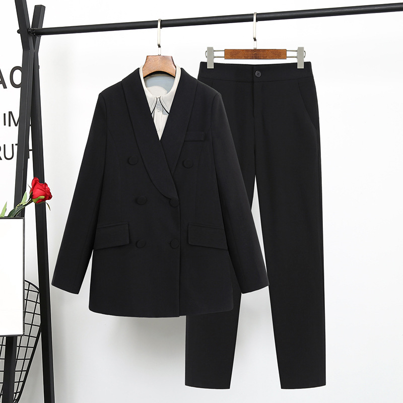 Women's Office Lady Two Pieces Solid Elegant Double Breasted Turn-down Collar Blazers Trouesrs New Pant Suits Plus Size 4XL