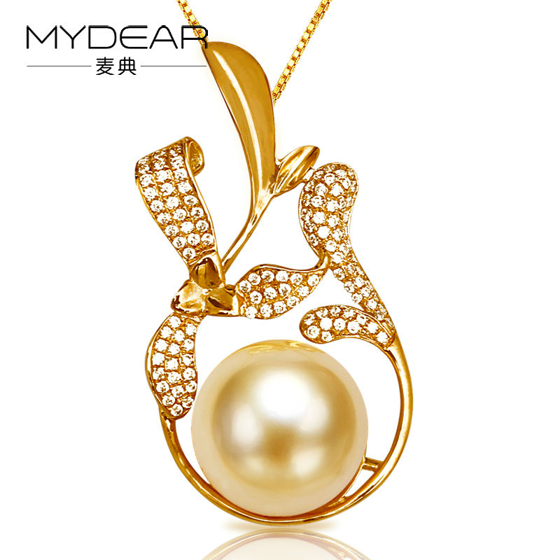 Mydear genuine pearl jewelry women old fashion real big 13 14mm mydear genuine pearl jewelry women old fashion real big 13 14mm golden south sea necklaces pendants chains2016 new arrival mozeypictures Gallery