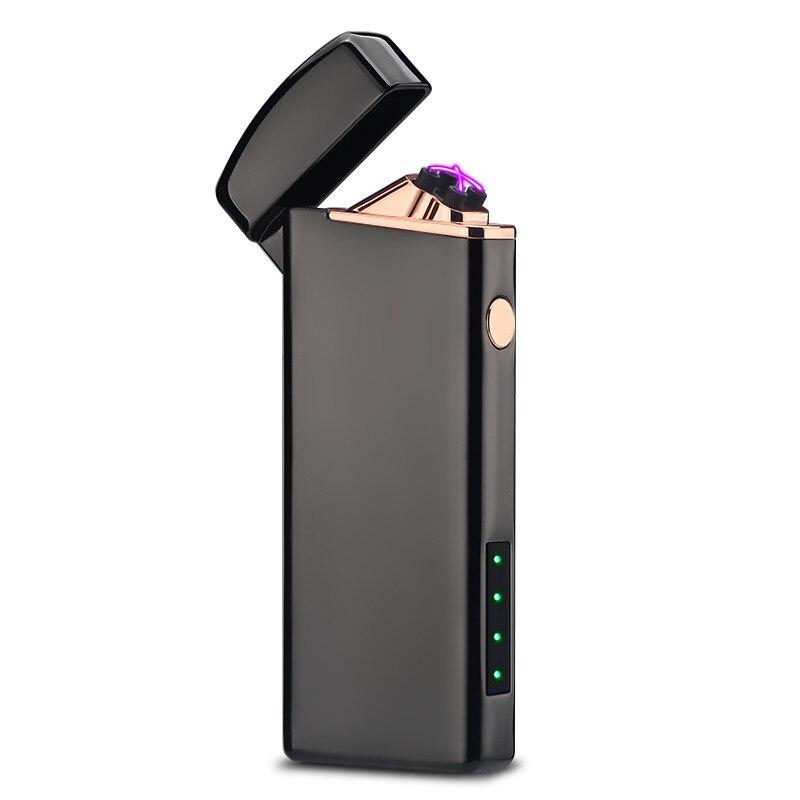 De Metal À Prova de Vento Usb Indicador de Bateria Recarregável Duplo Arco de Plasma Pulso Eletrônico Mais Leve Isqueiros Fumaça de Cigarros de Tabaco