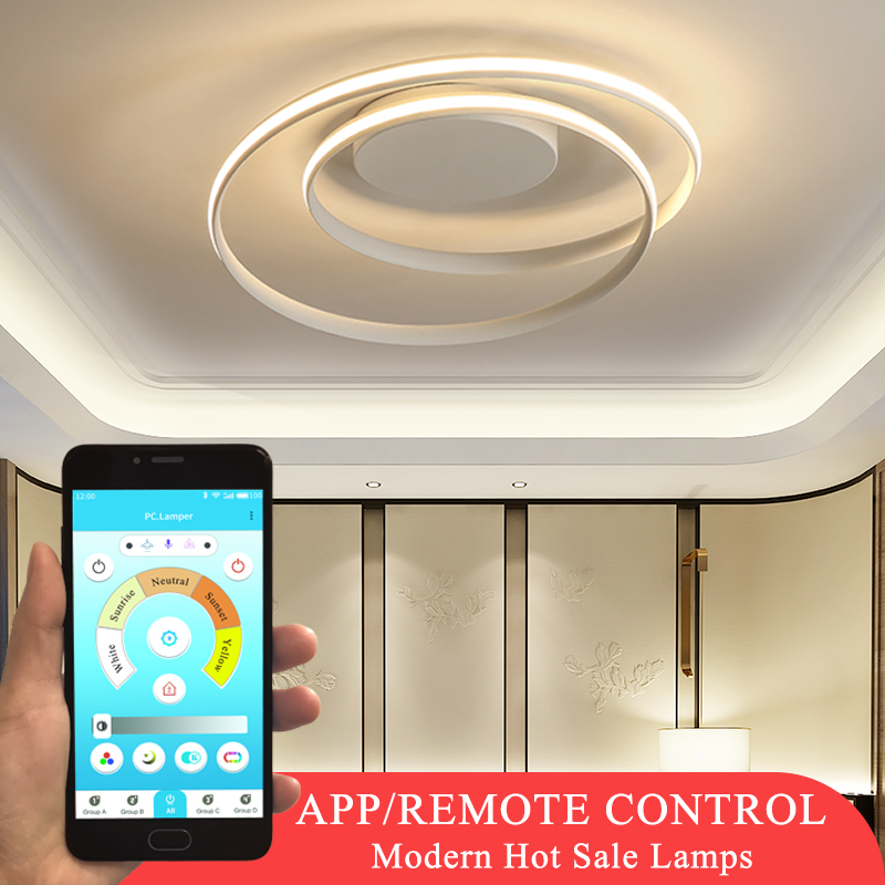Hot Sale Modern LED Ceiling Lights For Living Room Bedroom Dining Room Luminaires White&Black Ceiling Lamps Fixtures AC110V 220V
