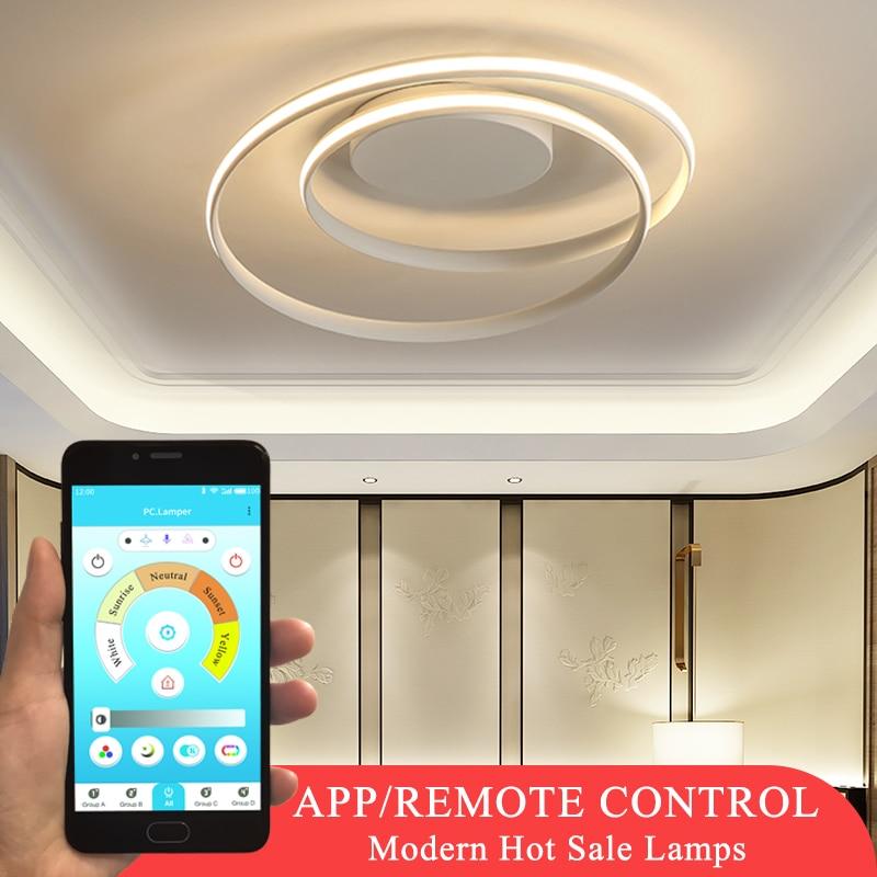 Offre spéciale plafond moderne à LEDs lumières pour salon chambre salle à manger Luminaires blanc et noir plafonniers Luminaires AC110V 220V-in Plafonniers from Lampes et éclairages on AliExpress