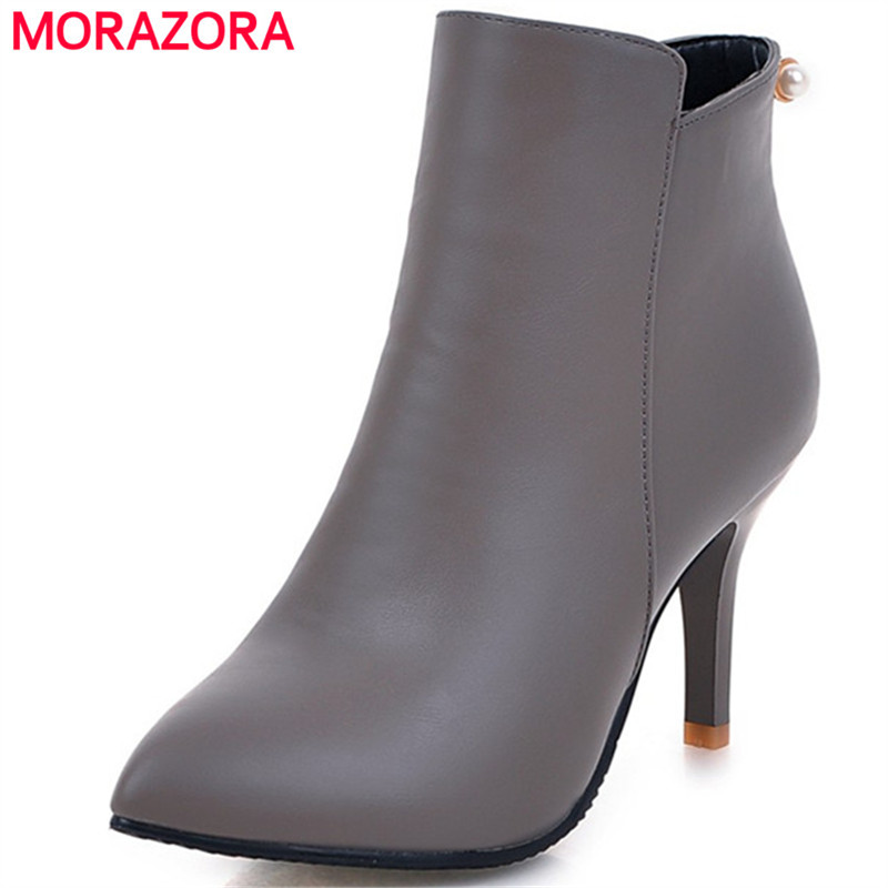 MORAZORA Sexy lady thin heels shoes woman ankle boots for women zip solid pointed toe party shoes fashion boots big size 34-44 spring autumn women shoes ankle boots flock bling high thin heels fashion sexy pointed toe zip zipper big size embroidery flower