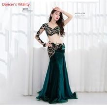 Nouveauté 2 pièces femmes Performance danse du ventre spectacle Costume soutien gorge + jupe longue danse équipe robe vert sur mesure