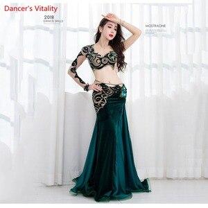 Image 1 - Nouveauté 2 pièces femmes Performance danse du ventre spectacle Costume soutien gorge + jupe longue danse équipe robe vert sur mesure