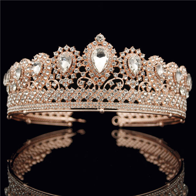 Vintage Crystal Rose Gold Tiara Crown for Queen Bride Crowns Headbands Bridal Wedding Hair Jewelry Accessories Women Headdress