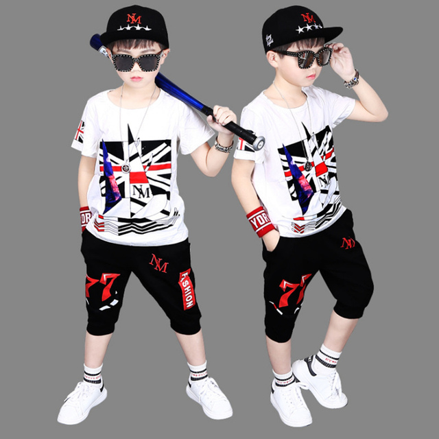 Sport Suits Teenage Summer Boys Clothing Sets British Flag Print T Shirt & Pants Casual 4 6 8 9 10 12 14 Years Child Boy Clothes