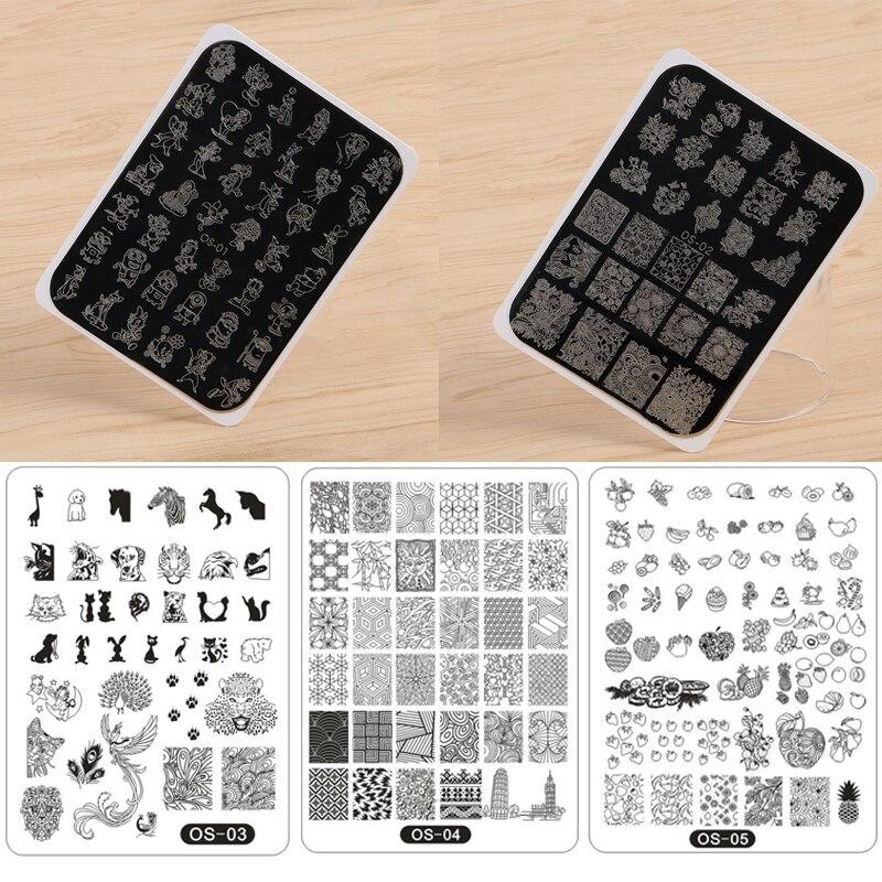 Nail Art Stamping Template Animal Cartoon Fruit Printing Image