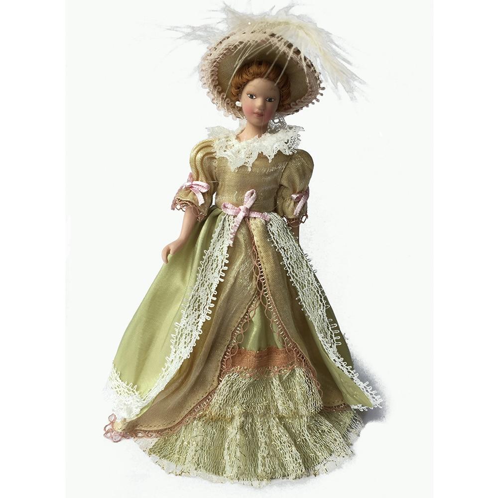 Porcelain Doll Model 1:12 Dollhouse Miniature Skirt Lady #PP007M