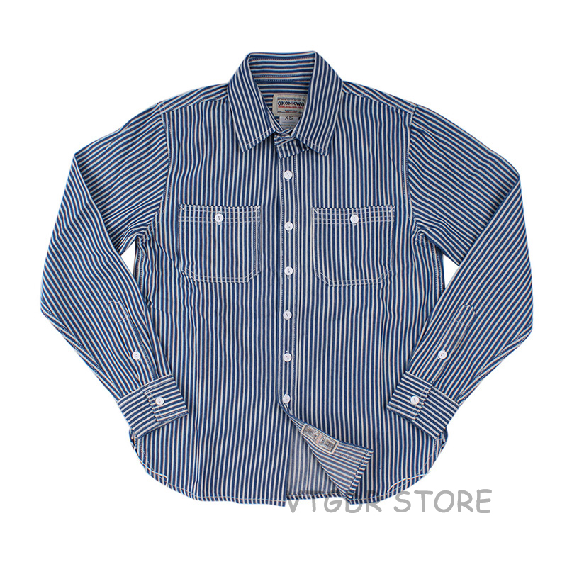 Vintage Striped Wrok Shirts For Men Fall Casual Railroad Retro Long Sleeve Western Worker Shirt Slim Fit