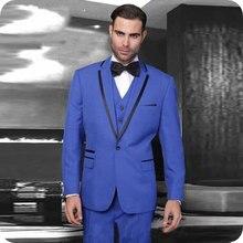 Latest Designs Royal Blue Men Suits Slim Fit Wedding Groom Tuxedos Custom Made Best Man Blazers 3Piece Jacket Pants Vest Prom