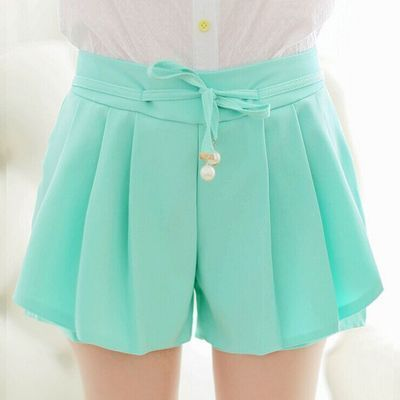 High waist shorts female summer Chiffon loose casual hot shorts plus size elastic waist candy colors fashion women girls shorts