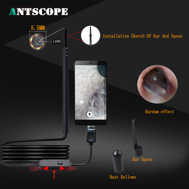 Antscope 2IN1 USB Ear Cleaning Endoscope HD Visual Ear Spoon Multifunctional Mini Camera Ear Pick Otoscope Borescope Tool blessfun 2 in 1 professional diagnostic medical ear eye care led fiber otoscope ophthalmoscope tool sets
