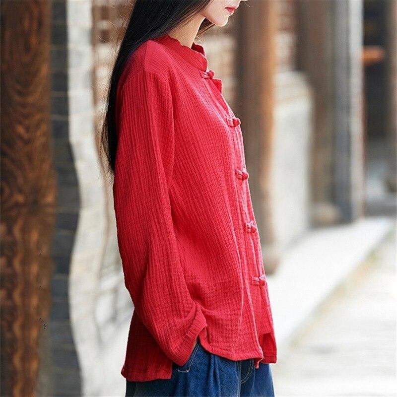 Traditional Chinese Shirt Blouse Women Female Cheongsam Top Kimono Cardigan Linen Chinese Tradtional Top Clothing  TA984