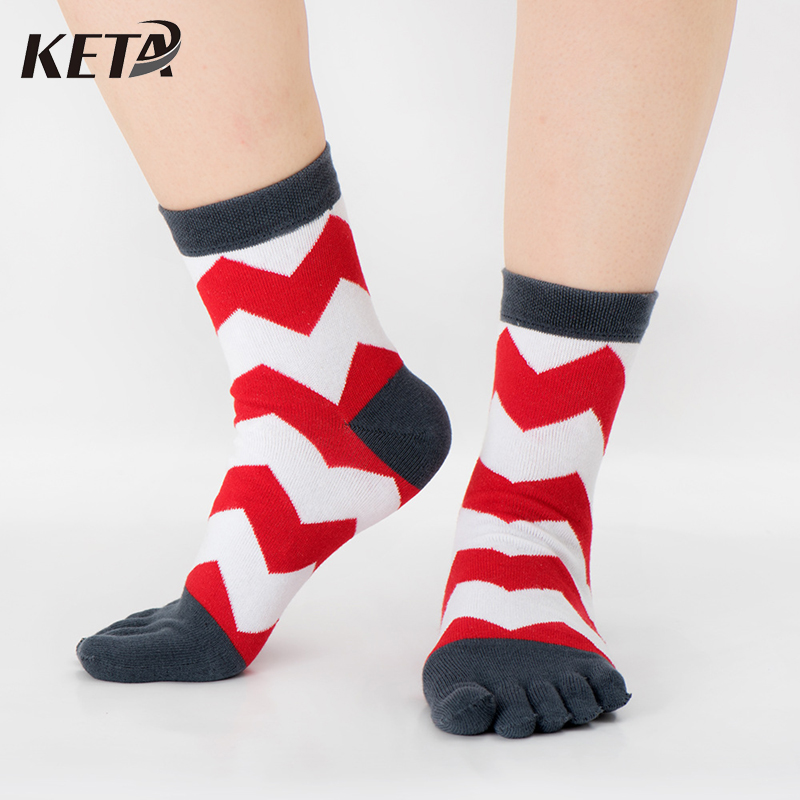 KETA Fashion Brand Striped Five Finger Socks Men Casual Colorful Striped Toe Socks Male Crew Cotton Dress Socks (5Pairs/lot)
