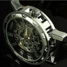 Paradise 2016 Fashion New Classic Men's Leather Dial Skeleton Mechanical Sport Army Wrist Watch Free Shipping Apr12