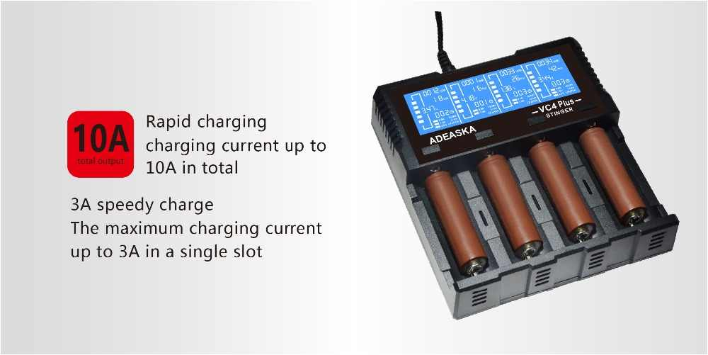 ADEASKA VC4 PLUS C4 VC4 LCD شاحن بطاريات ذكي ل ليثيوم أيون/IMR/INR/ICR/LiFePO4 18650 14500 26650 AA 3.7 1.2 فولت 1.5 فولت بطاريات D4
