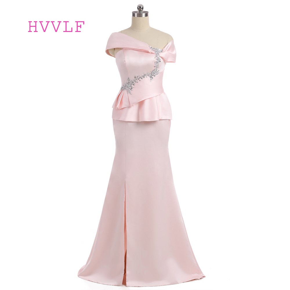Pink 2019 Mother Of The Bride Dresses Mermaid Cap Sleeves Satin Beaded Slit Wedding Party Dress Mother Dresses For Wedding