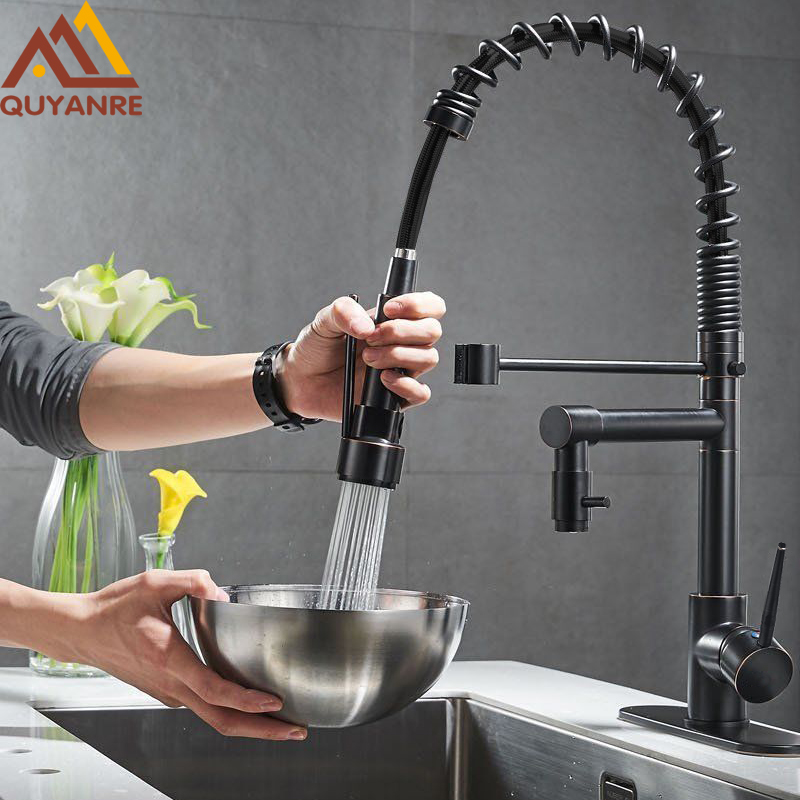 Quyanre ORB Blackend Kitchen Sink Faucet Pull-out Spray Dual Function Water Flow Swivel Spout Single Handle Mixer Tap Sink new pull out sprayer kitchen faucet swivel spout vessel sink mixer tap single handle hole hot and cold