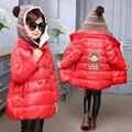 Бесплатная доставка девушки зима симпатичные узоры толстый теплое пальто Мультфильм шерсть шапку детская пальто