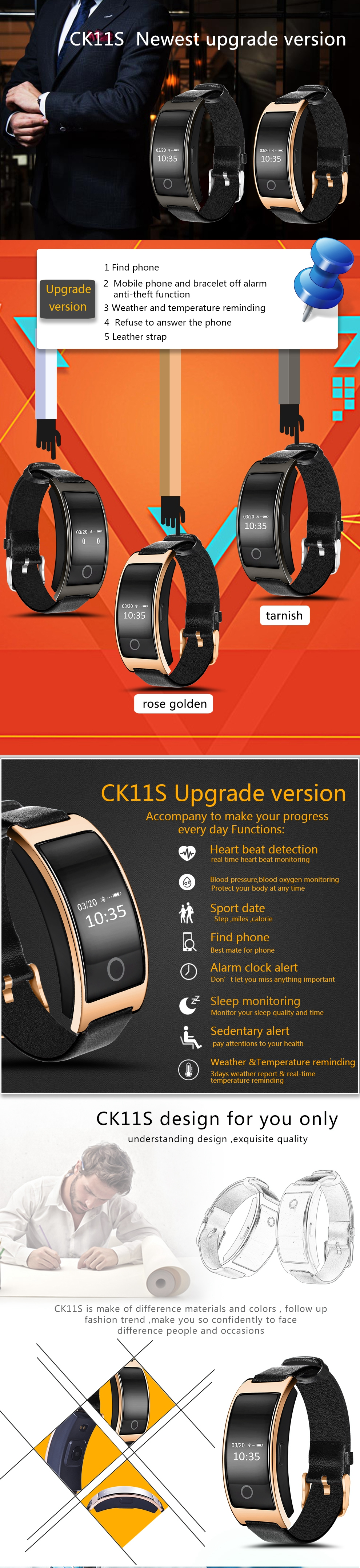 FREZEN NEW CK11S Smart Band Blood Pressure Heart Rate Monitor Wrist Watch Bracelet Fitness Bracelet Tracker Pedometer Wristband 1