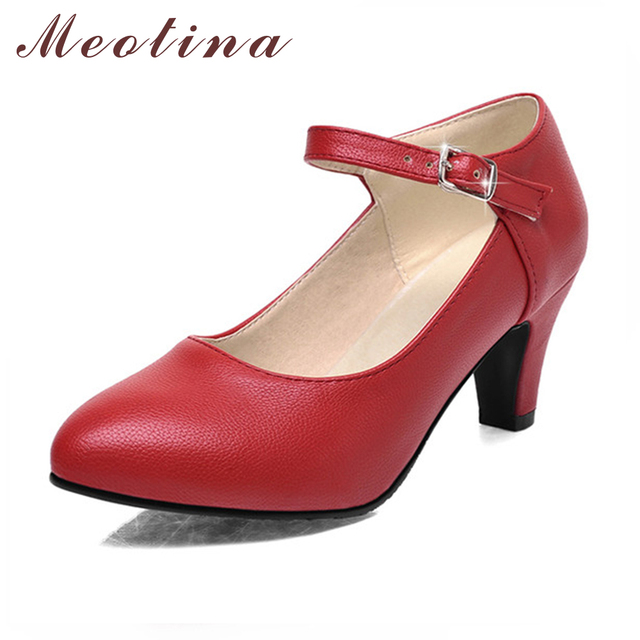 Meotina Shoes Women High Heels Ladies Pumps Spring Pointed Toe Mary Jane Career Chunky High Heels Autumn Brown Black Lady Shoes