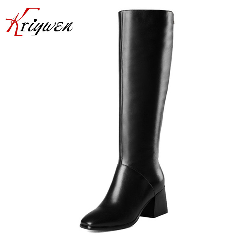 Весна/Осень зима натуральная кожа сапоги для верховой езды для женщин квадратных ног партия обуви бренда коровьей элегантный леди колено в...