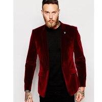 Custom Center Vent Groomsmen Notch Lapel Groom Tuxedos Velvet Red Jacket Men Suits Wedding Best Man (Jacket+Pants)