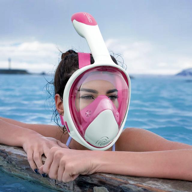 Scuba Diving Mask Full Face Anti Fog Underwater Snorkel Mask Set Swimming Mask for Gopro Camera Men Women Kids Children