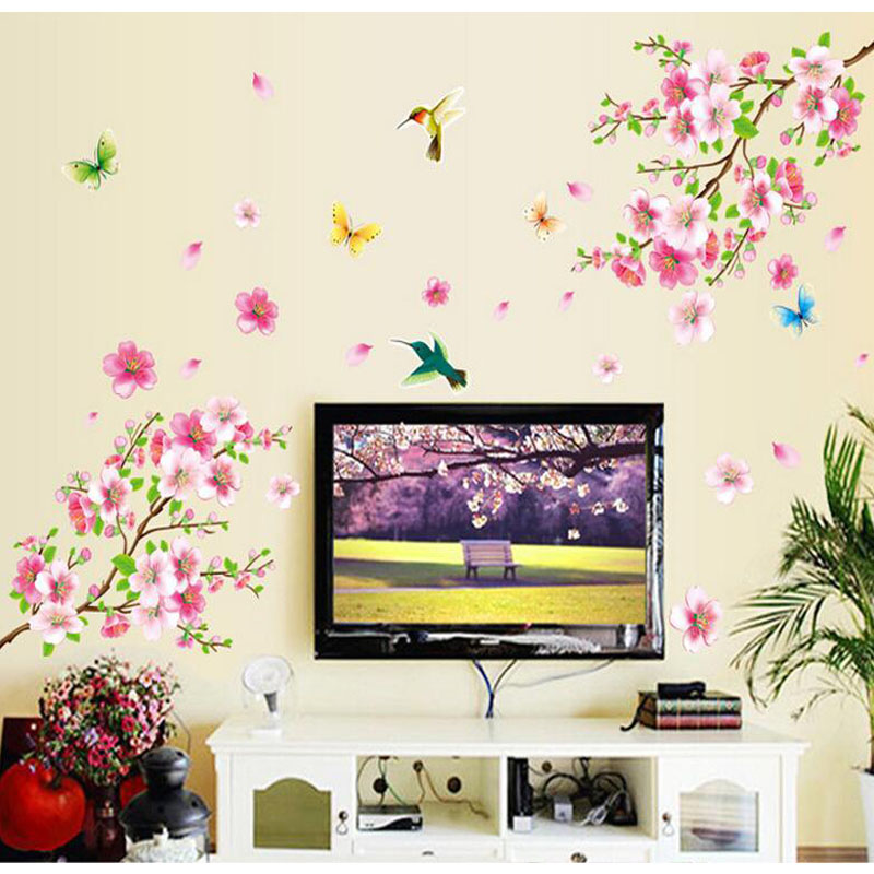ZY9158 Large Elegant Flower Wall Stickers Graceful Peach Blossom birds Wall Stickers Furniture Romantic Living Room Decoration ...