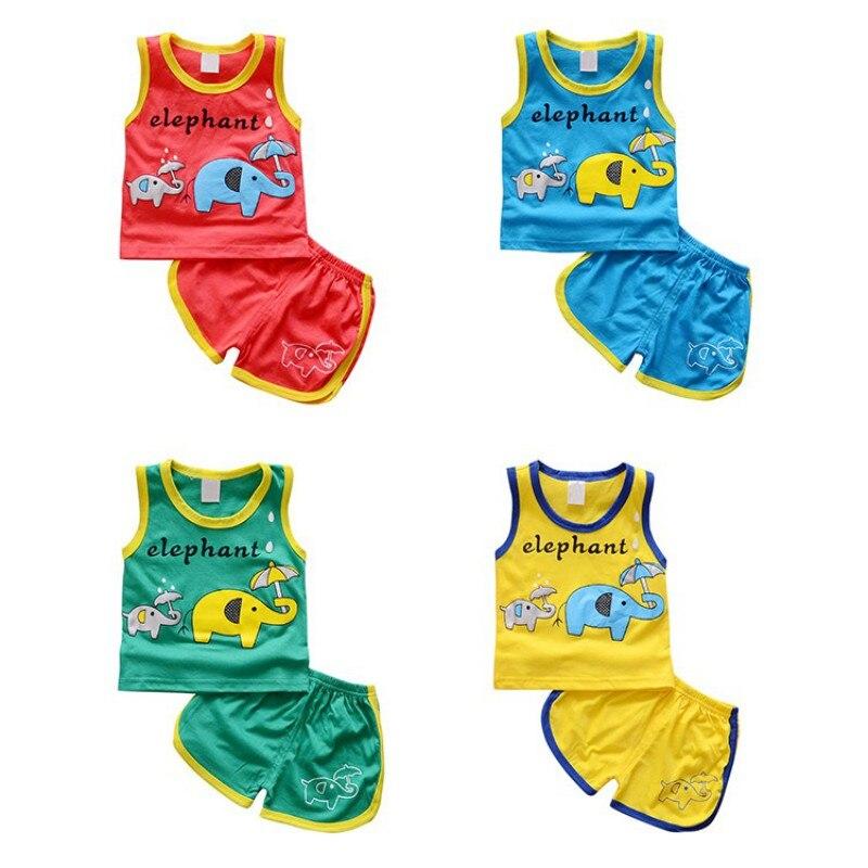 Summer Infant Boys Girls Casual Clothes Sets Tee Vest Tops Shorts Pants 2pcs Children Cartoon Animal Cute Cotton Clothing A5