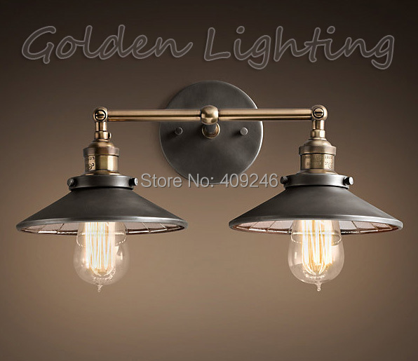 ФОТО 2016 Hot Vintage RH Loft Industrial Wall Lamp Double Heads Pendant Light Edison Bulb 22CM Home Bar Decor Lighting Cafe Hall