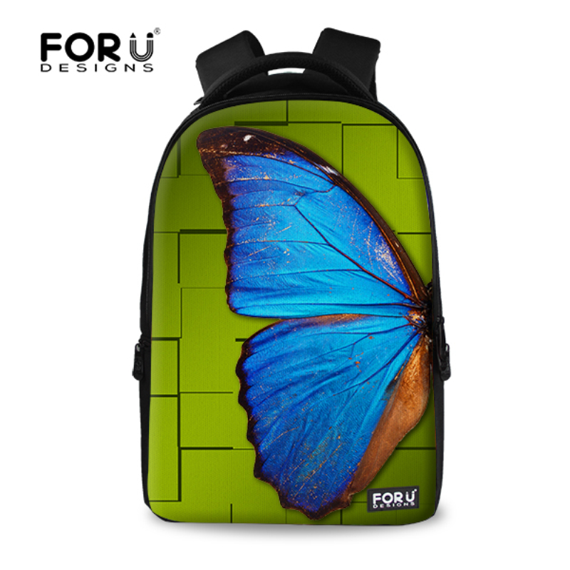 FORUDESIGNS Fancy Children Backpack 17 inch Butterfly Printing Laptop Backpack School Girls Casual Women Rucksack Travel Bagpack forudesigns bigger size 17 inch animal cat dog printing backpack women bag backpack big student girls school travel bagpack