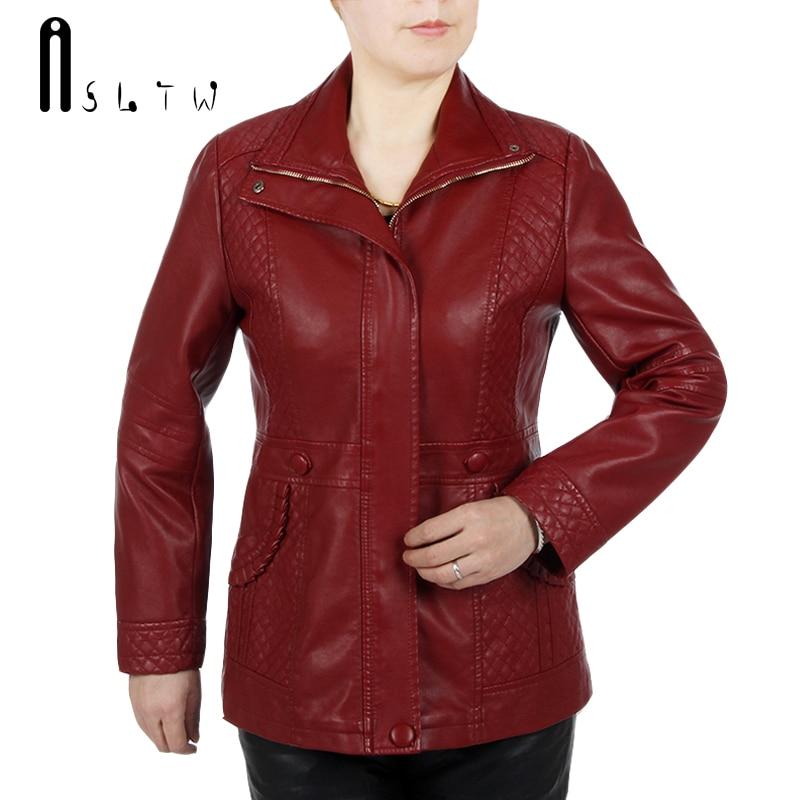 ASLTW Pu Leather Jacket Women New Arrive Plus Size Turn Down Collar Zipper Jacket Solid Long
