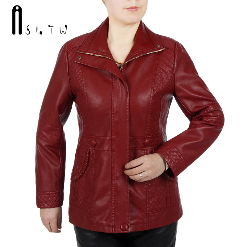 ASLTW Pu   Leather   Jacket Women New Arrive Plus Size Turn Down Collar Zipper Jacket Solid Long Sleeve Faux   Leather   Coat XL-6XL