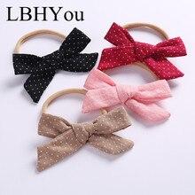 1pcs Fashion Cross Print Cotton Linen Bows Nylon Headbands Newborn Baby Knotbow Elastic Hairbands Princess Girls Hair Wear