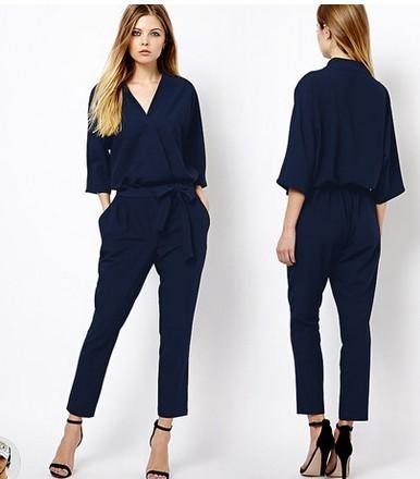 eb777c54dc7 Fashion Summer Women New 2014 Classic Suit Vintage Chiffon Plus Size One  Pieces Bodysuit Overalls Jumpsuit Ladies Clothes