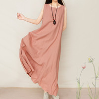 Robe Femme Cotton Linen Dress Female Summer Casual Maxi T Shirt Dress Vestidos Sundress Plus Size Long Beach Party Dresses C3099