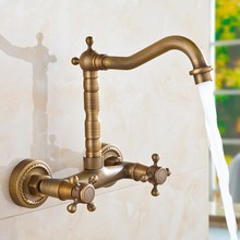 Antique Brass Kitchen Faucet Dual Cross Handles Wall Mounted Gold Hot&Cold Bathroom Kitchen Basin Sink swivel Faucet Mixer Tap