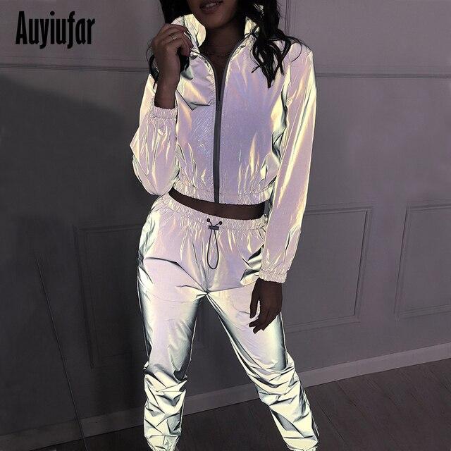 Auyiufar светоотражающий серебряный комплект из двух предметов на молнии с воротником-хомутом и эластичным поясом брюки уличная одежда женски...