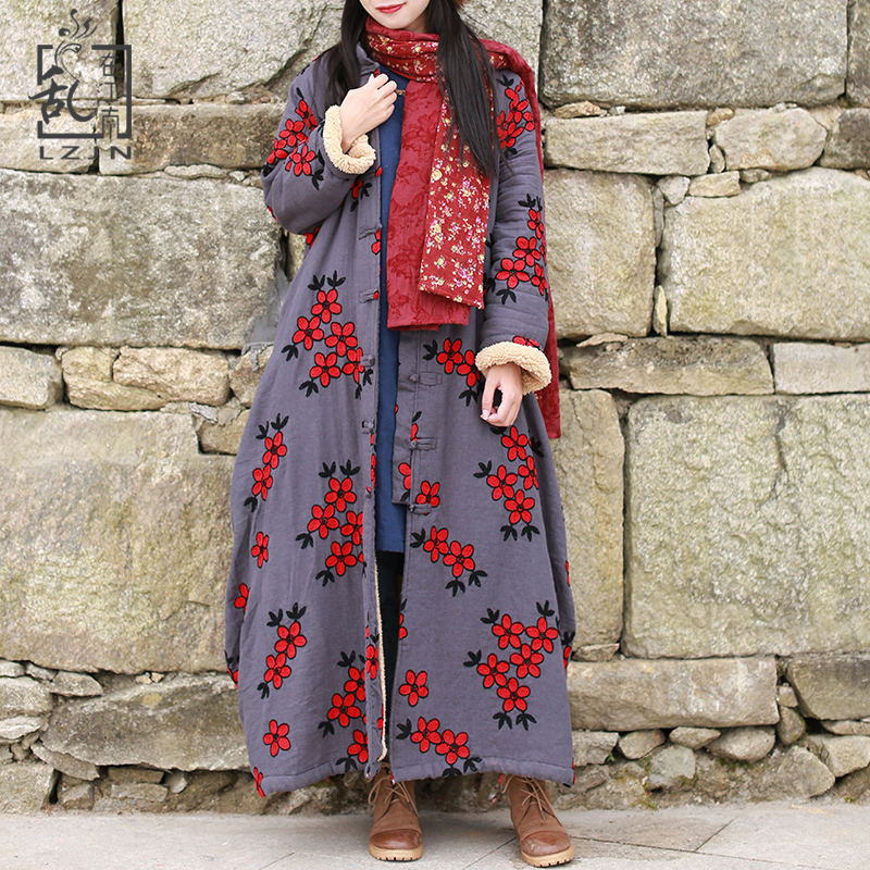 Hisenky Women Winter Cotton Coat Embroidery   Trench   Coat Imitated Lamb Wool Windbreaker Female Coats Vintage Fleece Trenchcoat