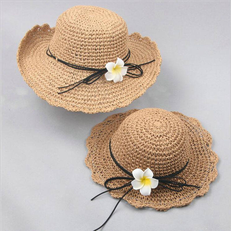 Женские соломенные шляпки с широкими полями, модные летние повседневные шляпки ручной работы с цветами, пляжная шляпа для родителей и детей...