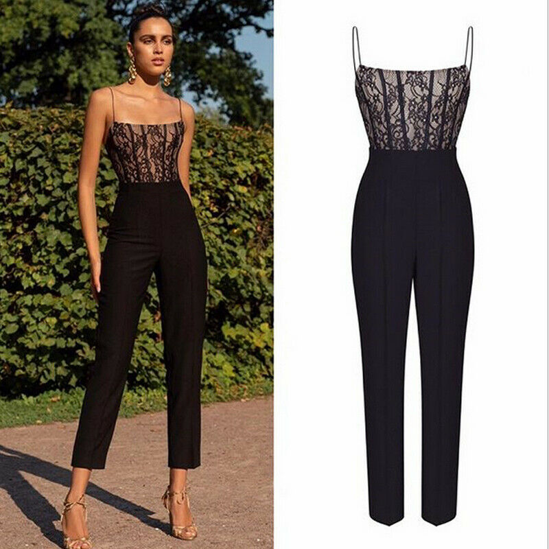 Fashion Solid Straps Lace High Waist Rompers Womens Jumpsuit Long Trousers Pants Bodycon Party Streetwear Female Casual Overalls