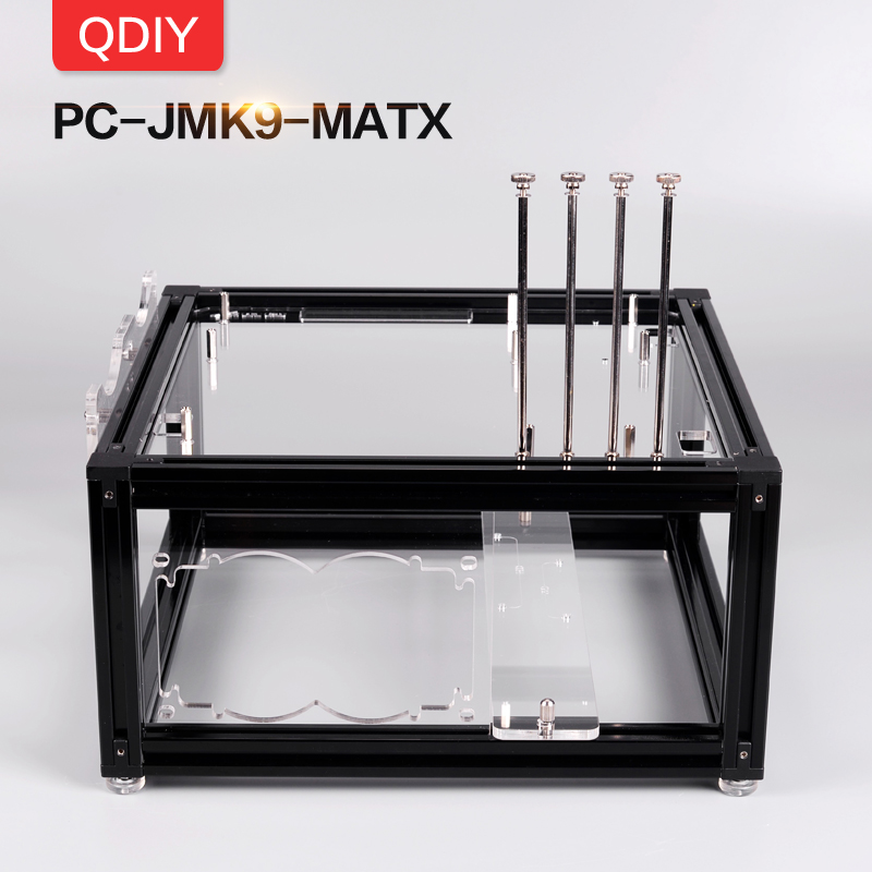QDIY PC-JMK9 New Personalized MicroATX Open  Aluminum Alloy Block Water Cooled Platform Computer PC Frame